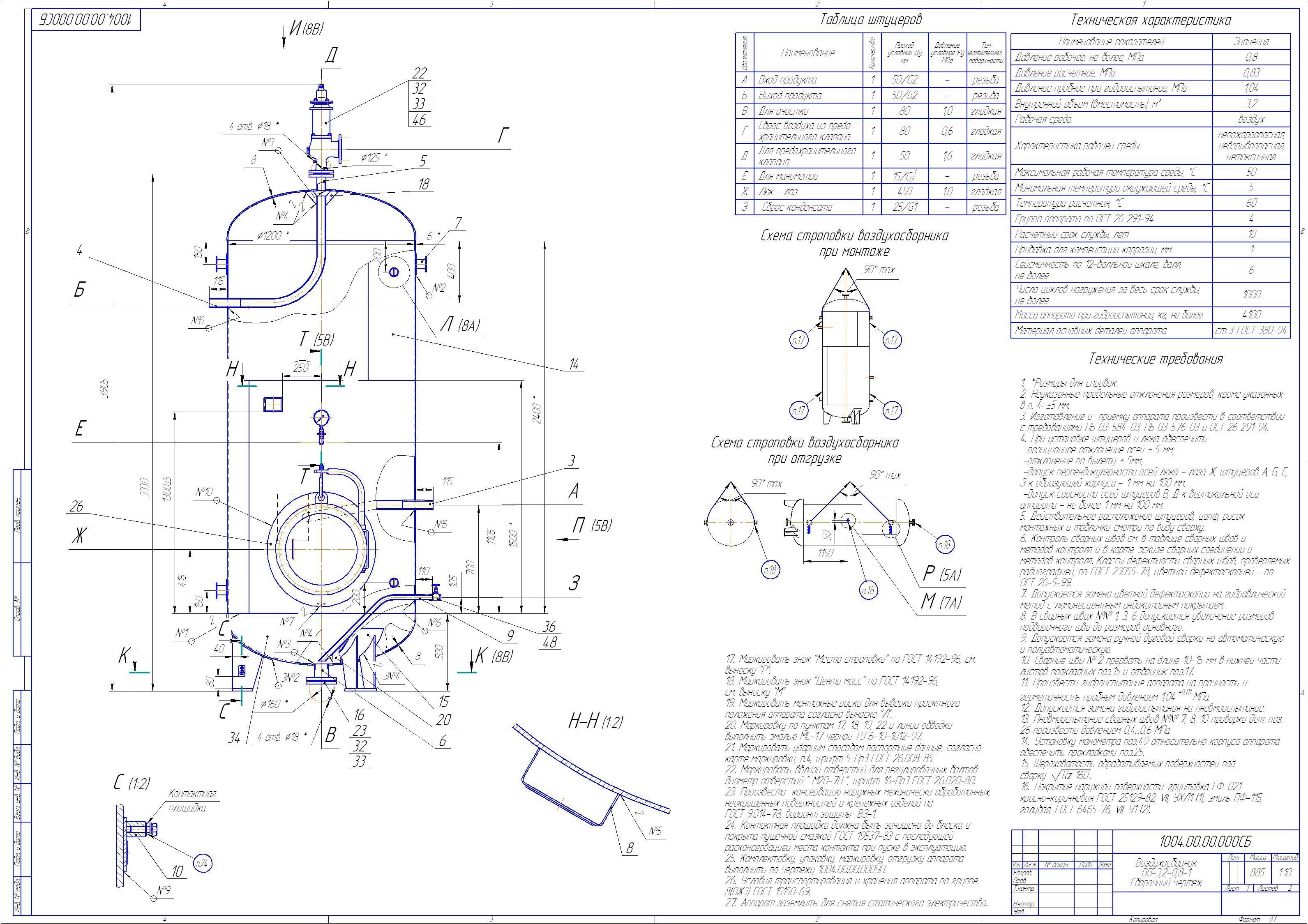 Схема устройство воздухосборника