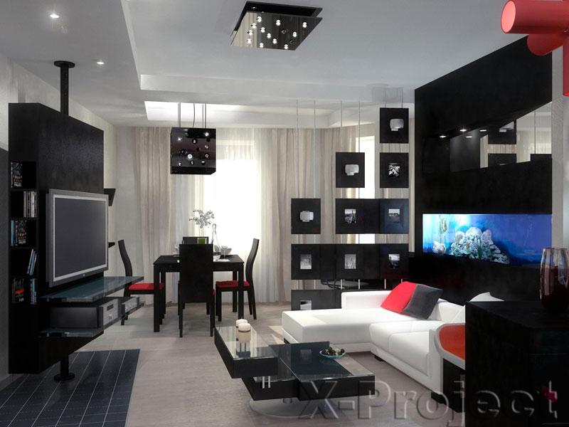 Дизайн комнаты в чёрно-белом стиле